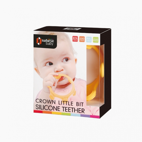 Crown Little Bit Silicone Teether / Yellow / 18001_package