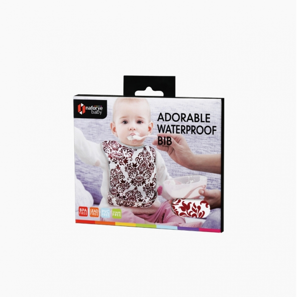Adorable Waterproof Bib / Burgundy / 17009_package
