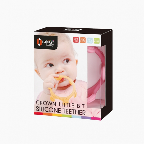 Crown Little Bit Silicone Teether / Pink / 18003_package