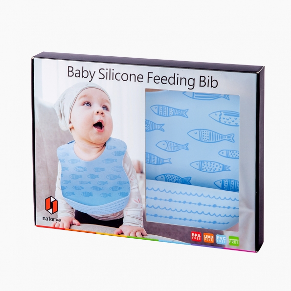 Baby Silicone Feeding Bib / Little fish / 18024_package