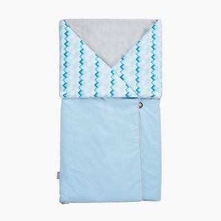 4-in-1 Swaddle Pouch & Blanket / Blue building blocks / 17039-1