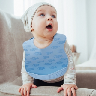 Baby Silicone Feeding Bib / Little fish / 18024-1