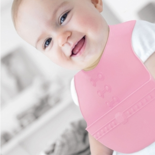 Easy Care Crumb Catcher Baby Bib / Pink / 18015-2