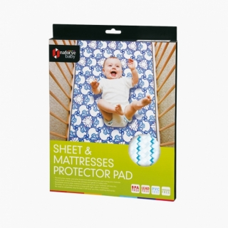 Sheet and Mattresses Protector Pad / Blue building blocks / 17006_package